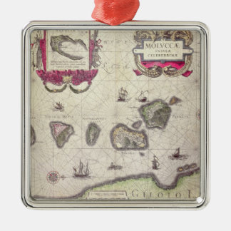 Map of The Moluccan Island, engraved Christmas Ornament