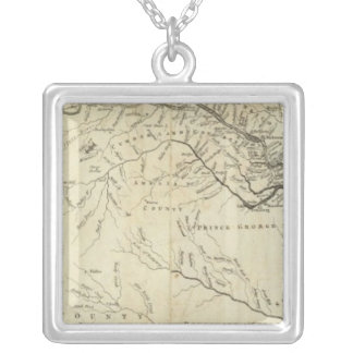 Map of the most Inhabited part of Virginia Silver Plated Necklace