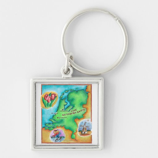 Map of the Netherlands Key Chains