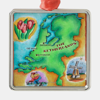 Map of the Netherlands Silver-Colored Square Decoration