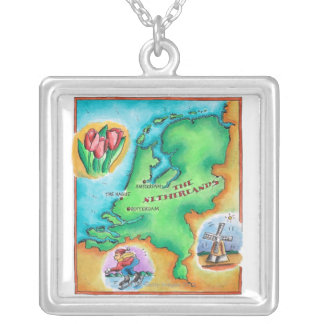 Map of the Netherlands Silver Plated Necklace