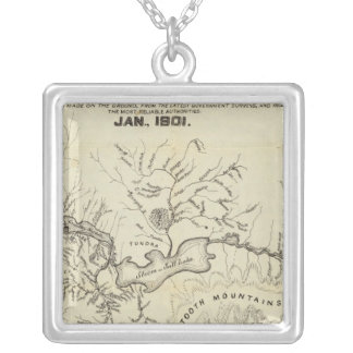 Map Of The New Alaska Gold Fields Silver Plated Necklace