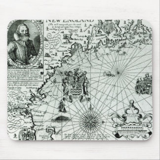 Map of the New England coastline Mouse Mat