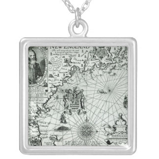 Map of the New England coastline Silver Plated Necklace