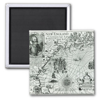 Map of the New England coastline Square Magnet