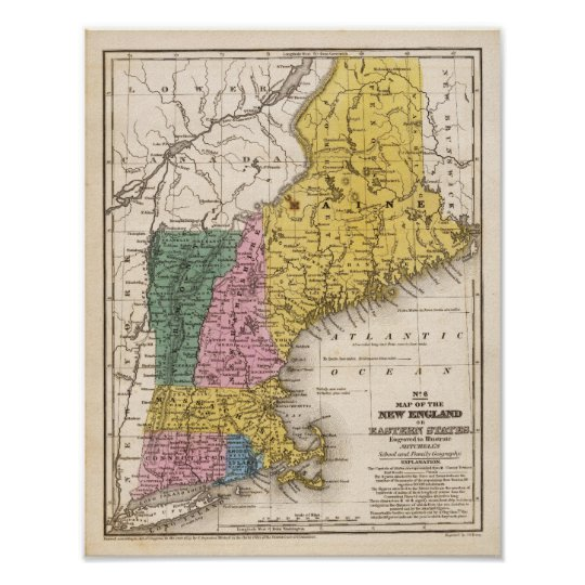 Map of the New England or Eastern States