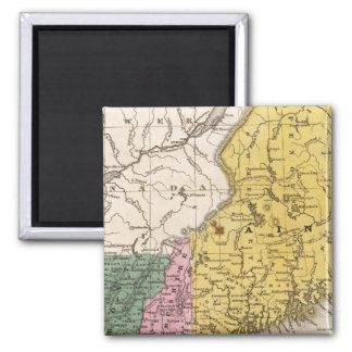 Map of the New England or Eastern States Square Magnet
