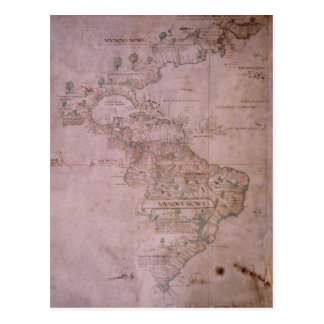 Map of the New World, c.1532 Postcard