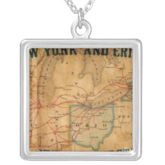 Map of the New York and Erie Rail Road Silver Plated Necklace