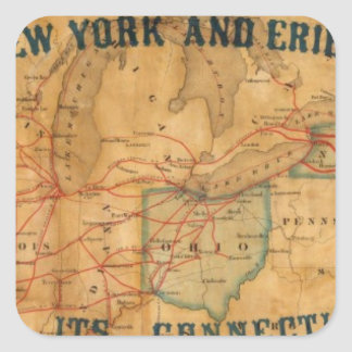 Map of the New York and Erie Rail Road Square Sticker