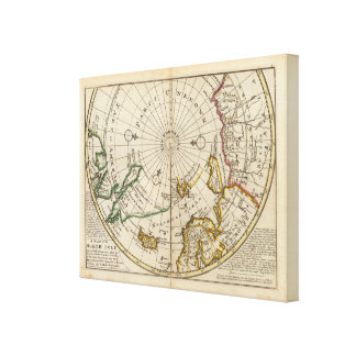 Map of the North Pole and territories near it Canvas Print