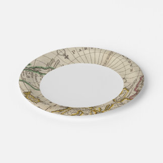 Map of the North Pole and territories near it Paper Plate
