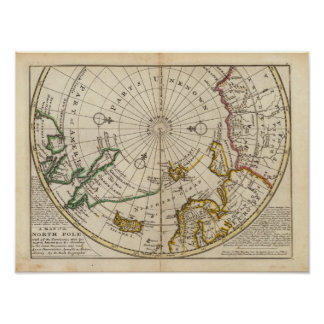 Map of the North Pole and territories near it Poster
