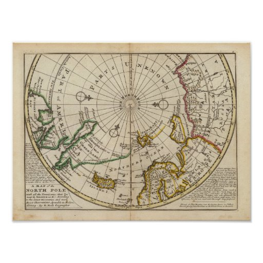 Map of the North Pole and territories near it Print