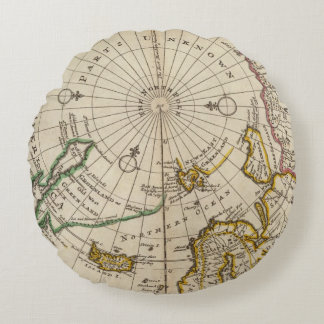 Map of the North Pole and territories near it Round Cushion