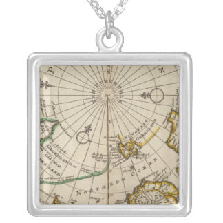 Map of the North Pole and territories near it Silver Plated Necklace