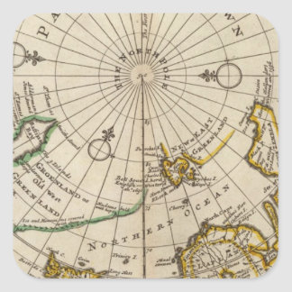 Map of the North Pole and territories near it Square Sticker