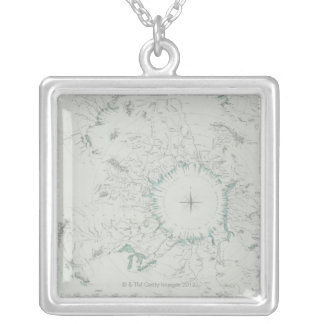 Map of the North Pole Silver Plated Necklace