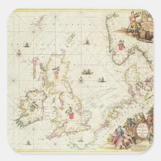 Map of the North Sea, c.1675 Square Sticker