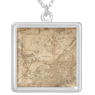 Map of the Northern and Middle States 2 Silver Plated Necklace