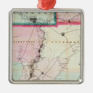 Map Of The Oil District Of Pennsylvania Silver-Colored Square Decoration