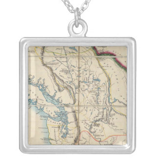 Map of the Oregon Territory 2 Silver Plated Necklace