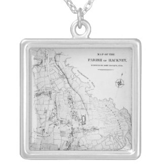 Map of the Parish of Hackney Silver Plated Necklace