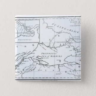 Map of the parts of Europe and Asia 15 Cm Square Badge