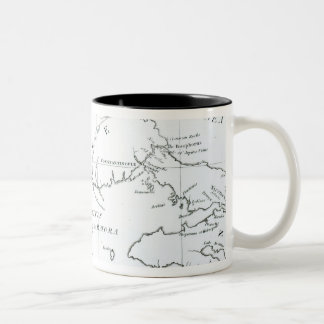 Map of the parts of Europe and Asia Two-Tone Coffee Mug