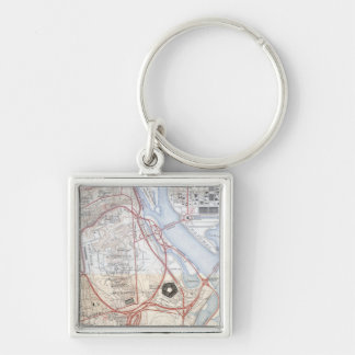 Map of the Pentagon Road System Silver-Colored Square Key Ring
