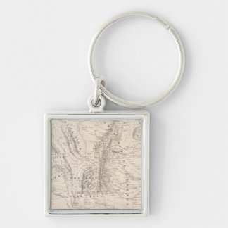 Map of the provinces of Cordova and San Luis Silver-Colored Square Key Ring