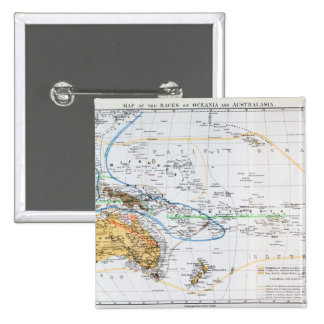 Map of the races of Oceania and Australasia 15 Cm Square Badge
