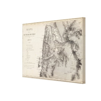Map of the Republic of Chile 1 Canvas Print