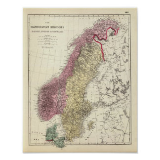 Map of the Scandinavian Kingdoms Poster
