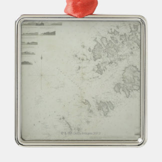 Map of the Scilly Isles in Britain Silver-Colored Square Decoration