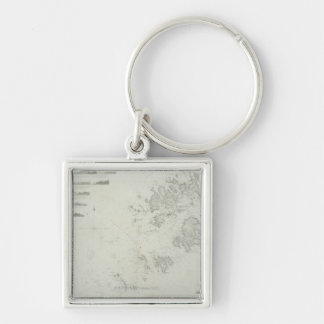 Map of the Scilly Isles in Britain Silver-Colored Square Key Ring