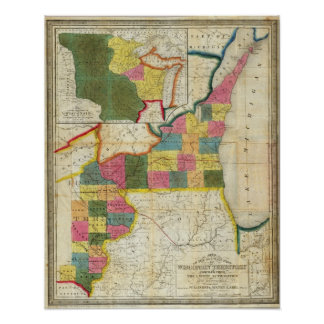 Map of the Settled Wisconsin Territory Poster