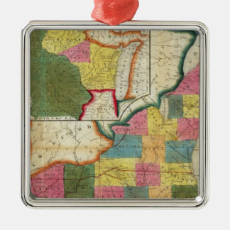 Map of the Settled Wisconsin Territory Silver-Colored Square Decoration