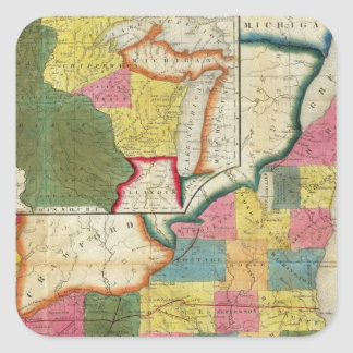 Map of the Settled Wisconsin Territory Square Sticker
