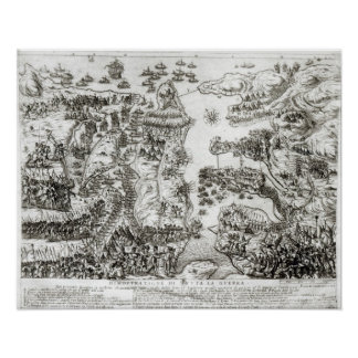 Map of the Siege of Malta in 1565 Poster