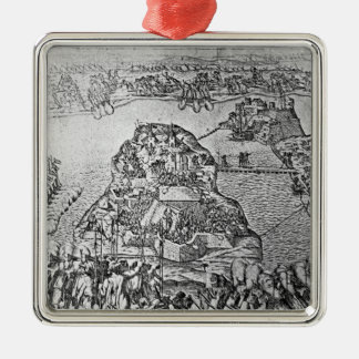 Map of the Siege of Malta in 1565 Silver-Colored Square Decoration