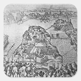 Map of the Siege of Malta in 1565 Square Sticker
