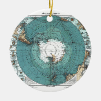 Map of the South Pole Round Ceramic Decoration
