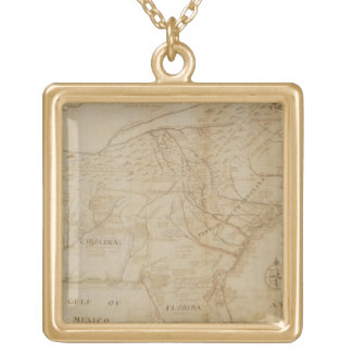 Map of the Southeastern part of North America, 172 Gold Plated Necklace