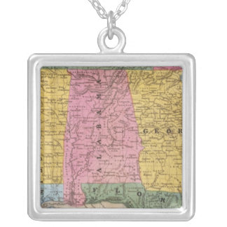 Map of the Southern States Silver Plated Necklace
