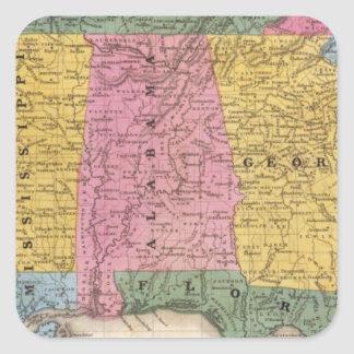 Map of the Southern States Square Sticker