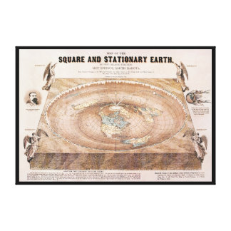 Map of the Square and Stationary Earth by Ferguson Gallery Wrapped Canvas
