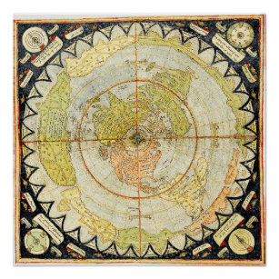 Map of the Square and Stationary Flat Earth Plane Poster