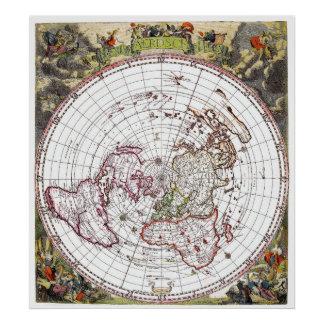 Flat earth art posters framed artwork zazzle map of the square and stationary flat earth plane poster gumiabroncs Images