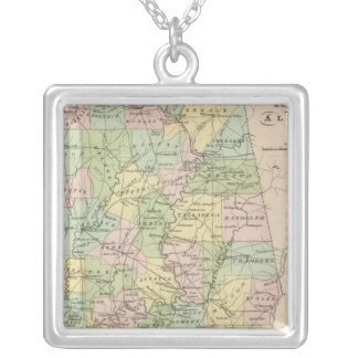 Map of the State of Alabama 2 Silver Plated Necklace